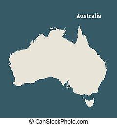mappa, australia., vettore, illustration., contorno