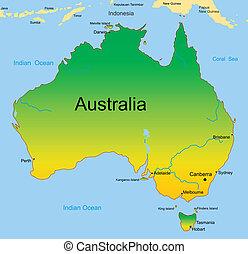mappa, australiano, continente
