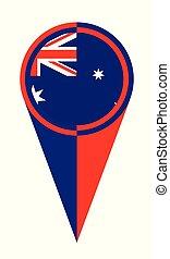 mappa, australiano, puntatore, posizione, bandiera