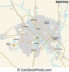 mappa, bagdad, capitale, strada, iracheno