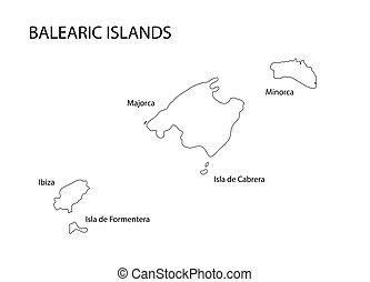 mappa, baleare, nero, contorno, isole