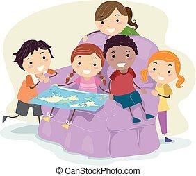 mappa, bambini, stickman, illustrazione, mondo, sedia