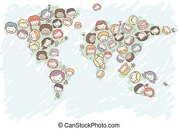 mappa, bambini, stickman, illustrazione, mondo, teste