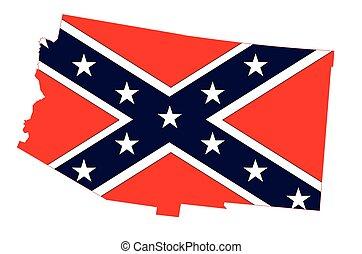 mappa, bandiera, arizona, confederato