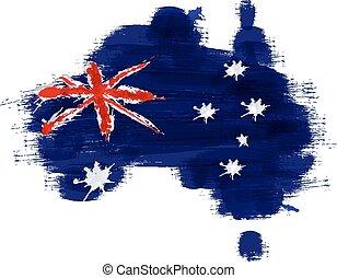 mappa, bandiera, australia, grunge, australiano