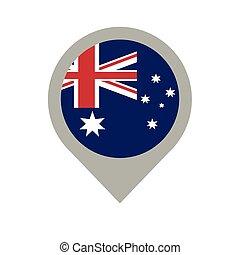 mappa, bandiera australiana, perno, posizione