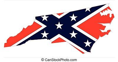 mappa, bandiera, carolina, nord, confederato