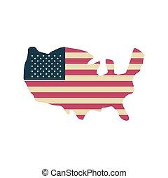mappa, bandiera, fondo, unito, bianco, stati
