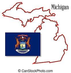mappa, bandiera michigan, stato