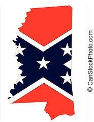 mappa, bandiera mississippi, confederato