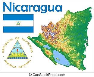 mappa, bandiera, nicaragua, cappotto