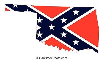 mappa, bandiera oklahoma, confederato