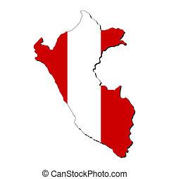 mappa, bandiera, perù