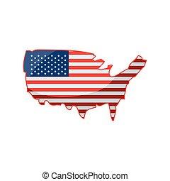 mappa, bandiera, sfondo bianco, stati uniti