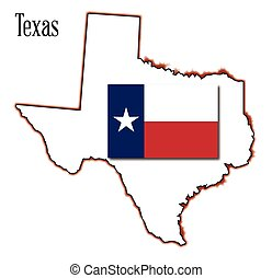 mappa, bandiera, texas