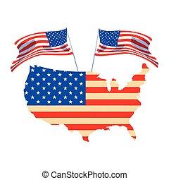mappa, bandiera, unito, fondo, bianco, stati
