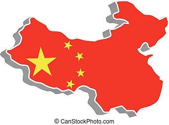 mappa, bandiera, vettore, china., 3d