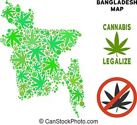 mappa, bangladesh, collage, foglie, marijuana, libero, regalità