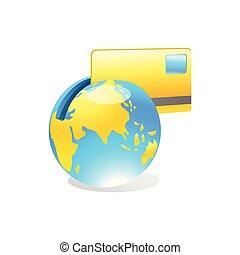 mappa, banking., globe., concept., credito, internet, mondo, pagamento, scheda