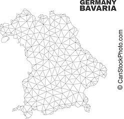 mappa, baviera, maglia, polygonal, vettore, terra