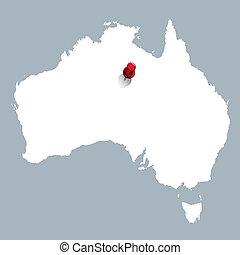 mappa, bianco, australia, rosso, perno