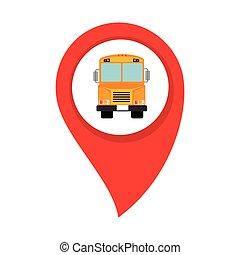 mappa, bus scuola, interno, cerchio, puntatore