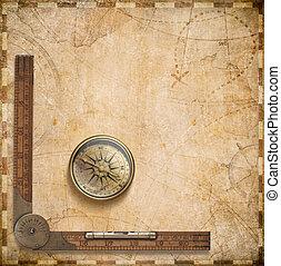 mappa, bussola, nautico, vecchio, righello
