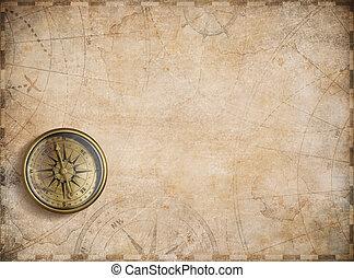 mappa, bussola, vecchio, fondo, nautico