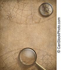 mappa, bussola, vecchio, loupe, nautico