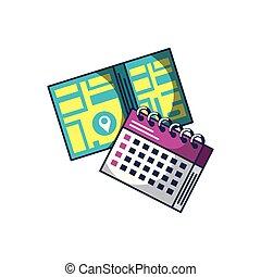 mappa, calendario, promemoria, guida, posizione