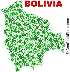 mappa, canapa, bolivia, foglie, mosaico