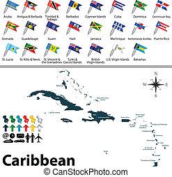 mappa, caraibico, politico