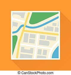 mappa, carta, appartamento, icona