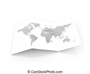 mappa, carta, pezzo, cardbord, mondo