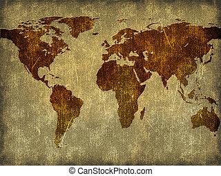 mappa, carta, vecchio, parola