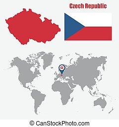 mappa, ceco, illustrazione, bandiera, vettore, repubblica, pointer., mondo