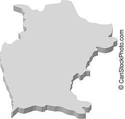 mappa, (chile), 3d-illustration, -, coquimbo