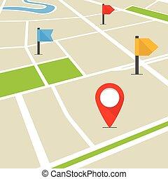 mappa, città, prospettiva, astratto