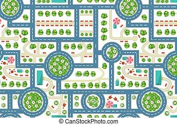 mappa, city., modello, cima, albero, strada, vista