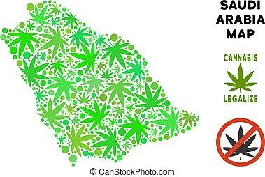 mappa, collage, foglie, marijuana, libero, regalità, arabia saudita