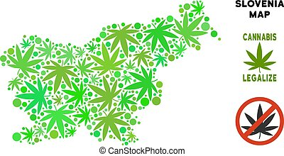 mappa, collage, foglie, marijuana, libero, slovenia, regalità