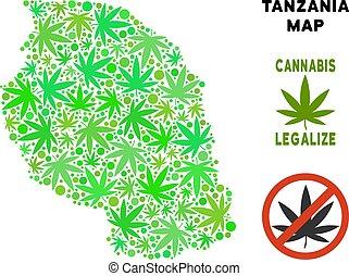 mappa, collage, tanzania, marijuana, libero, regalità, foglie