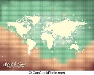 mappa, colorare, cielo, luci, sabbia, sfondo verde, mondo