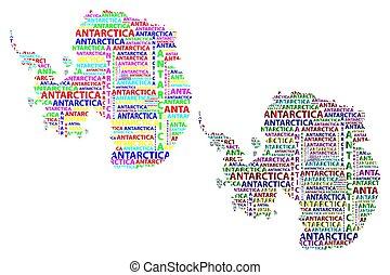 mappa, colorare, -, illustrazione, antartide, vettore, continente