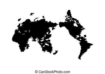 mappa, colorare, illustrazione, vettore, nero, mondo