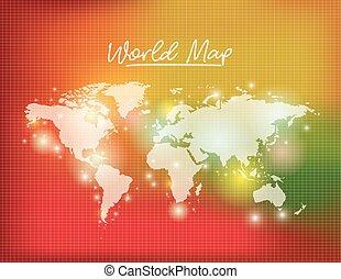 mappa, colorare, verde giallo, fondo, mondo, griglia, bianco, degraded, rosso