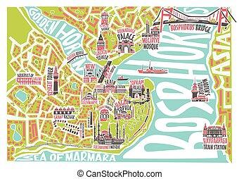 mappa, colorato, istanbul, limiti, illustrazione, famoso, vettore