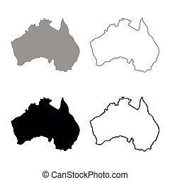 mappa, colore australia, grigio, set, nero, icona