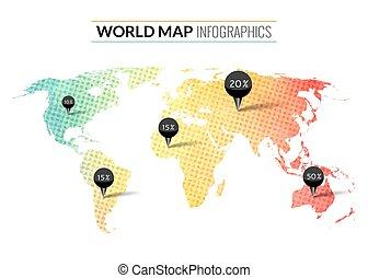 mappa, colorito, acquarello, vettore, infographics, piolini, mondo, percento, punti