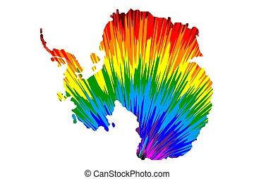 mappa, colorito, arcobaleno, modello, astratto, -, antartide, disegnato, continente
